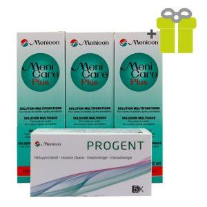 Cieto kontaktlēcu kopšanas komplekts: MeniCarePlus 250 ml (3) + Progent (1)