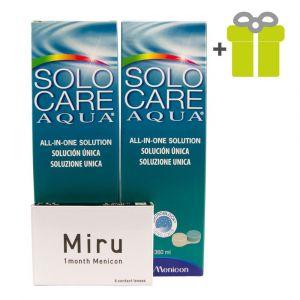 Komplekts 3 mēnešiem: Miru 1month (6) + SoloCare Aqua 360 ml (2)