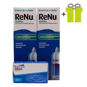 Komplekts 3 mēnešiem: Soflens 59 (6) + ReNu MultiPlus 360 ml (2)