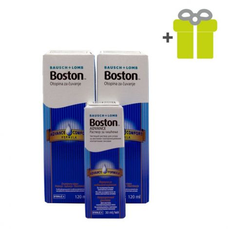 Cieto kontaktlēcu kopšanas komplekts: Boston Advance Conditioner 120 ml (2) + Boston Advance Cleaner 30 ml (1)