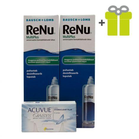 Komplekts 3 mēnešiem: Acuvue Oasys (12) + ReNu MultiPlus 360 ml (2)