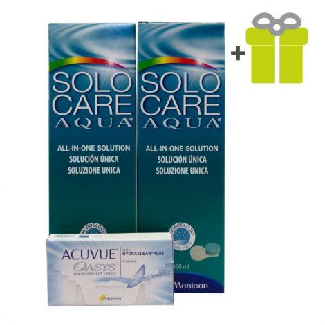 Komplekts 3 mēnešiem: Acuvue Oasys (12) + SoloCare Aqua 360 (2)